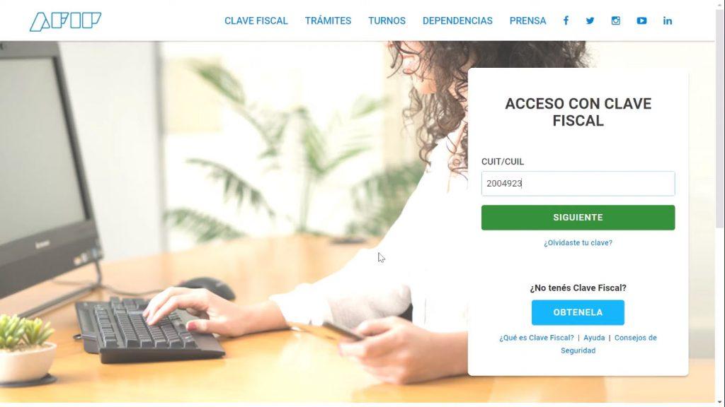 Acceso a la página web de la AFIP